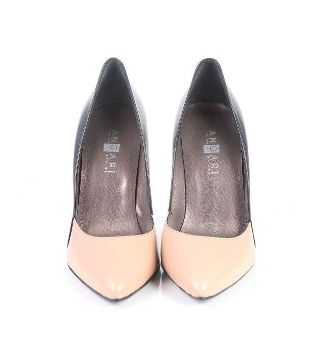 Zapatos Mujer Stilettos Bicolor Negro Beige Piel Angari Shoes.