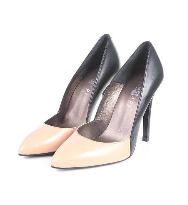 Zapatos Salón Mujer Negro Beige Piel Angari Shoes.