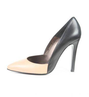 Zapato Mujer Stiletto Bicolor Piel Angari Shoes.