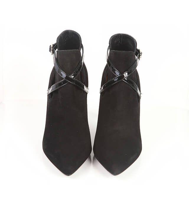 Botines Mujer Black Ante Tacón Fino Angari Shoes.