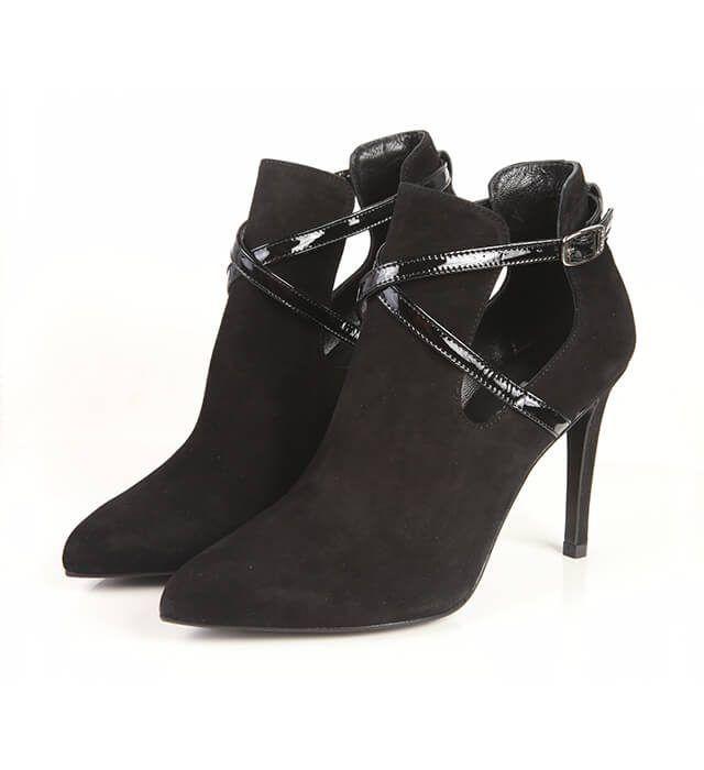 Botines Mujer Negro Ante Angari Shoes.