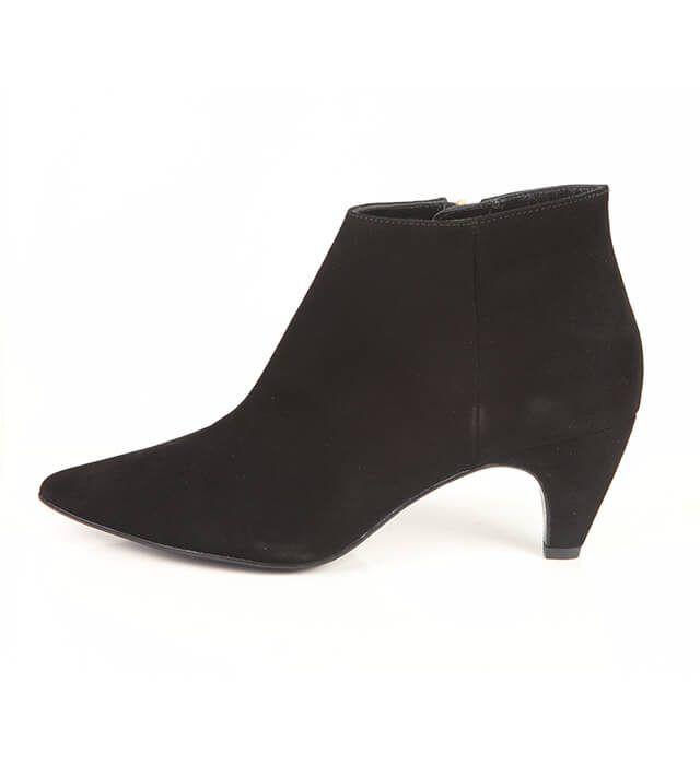 Botín Mujer Negro Bajo Ante Angari Shoes.