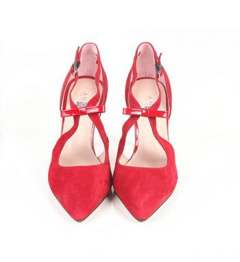 Zapato Fiesta Mujer Rojo Ante Detalle Lazo Angari Shoes.