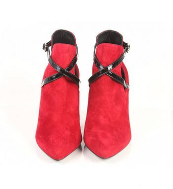Botines Mujer Ante Rojo Detalles Negro Angari Shoes.