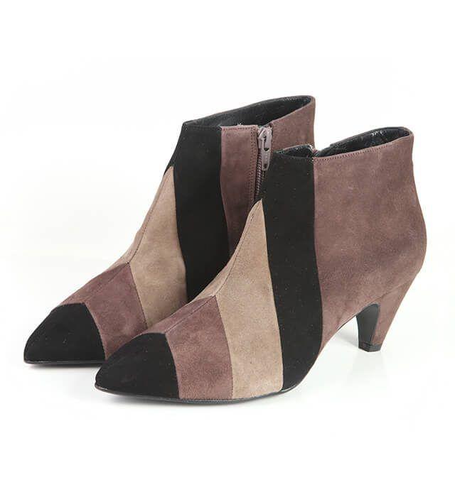 Botines Mujer Ante Beige Brown Negro Angari Shoes.