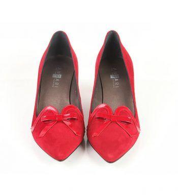 Zapatos Mujer Ante Rojo Detalle Lazo Angari Shoes.