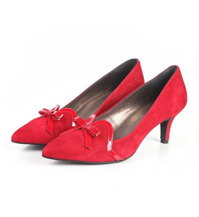 Zapatos Fiesta Mujer Ante Rojo Angari Shoes.