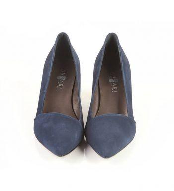 Zapatos Fiesta Mujer Marino Ante Metalizado Angari Shoes.