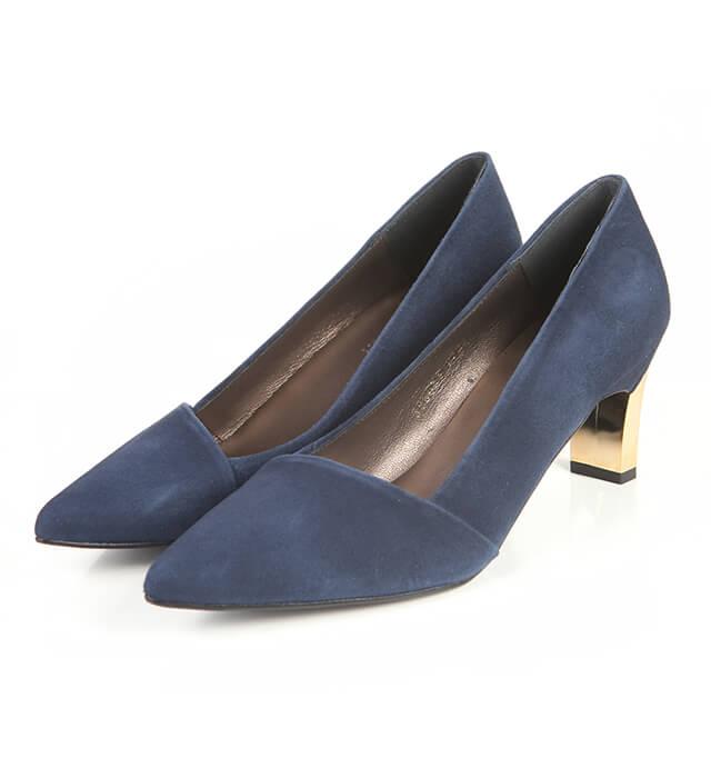 Zapatos Fiesta Mujer Blue Ante Tacón Dorado Angari Shoes.