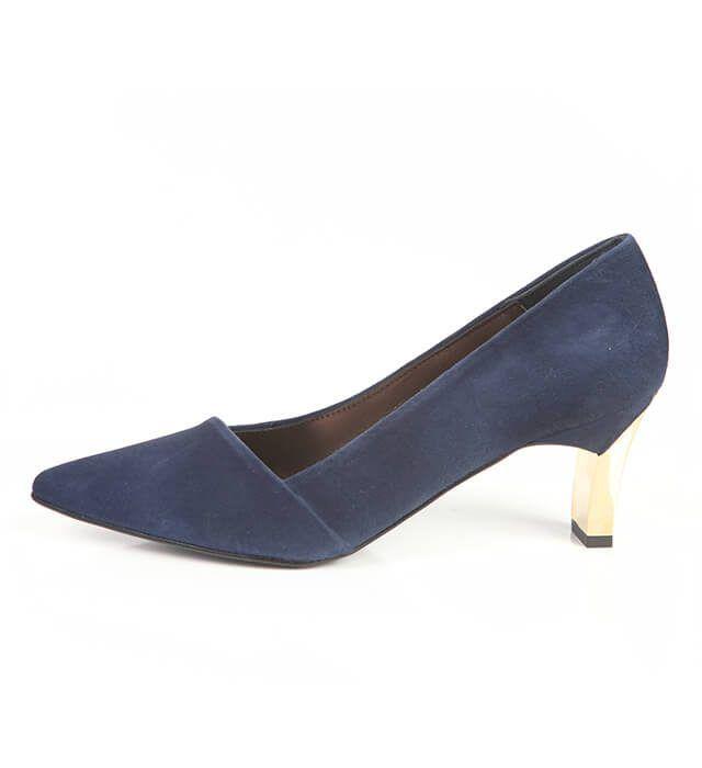 Zapato Salón Mujer Ante Marino Angari Shoes.