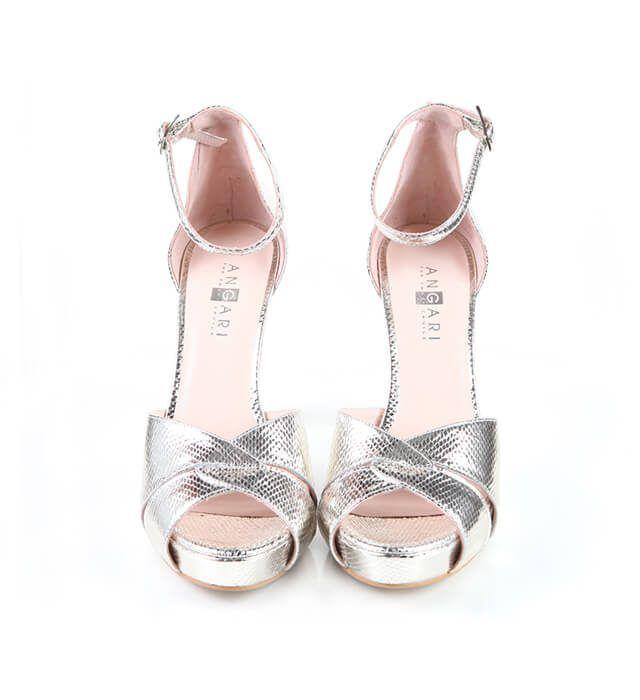 Zapato Sandalia Fiesta Mujer Plataforma Plata Metal Angari Shoes.