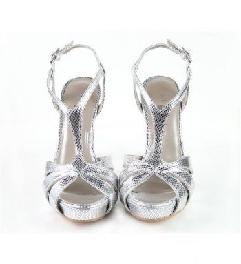 Zapatos Mujer Sandalia Piel Metalizada Plataforma Angari Shoes.