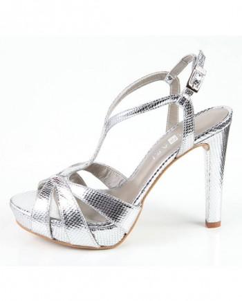 Zapato Sandalia Mujer Plataforma Plata Metalizada Angari Shoes.