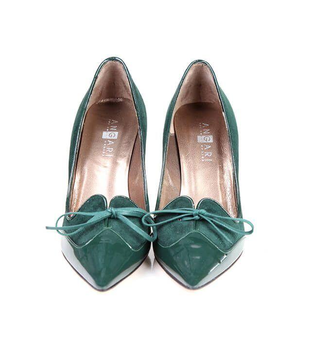 Zapatos Salón Mujer Verde Ante Detalle Lazo Angari Shoes.