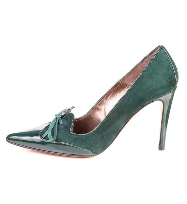 Zapato Stiletto Mujer Ante Verde Angari Shoes.