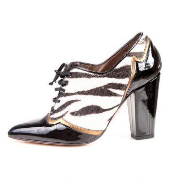 Zapato Mujer Piel Animal Print Charol Cordones Angari Shoes