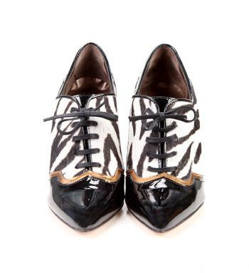 Zapato Mujer Piel Dálmata Cordones Tacón Charol Angari Shoes.