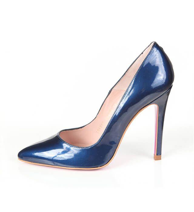 Zapato Salón Mujer Blue Metalizado Charol Angari Shoes.