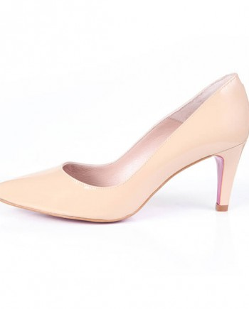 Zapato Salón Mujer Beige Piel Angari Shoes.