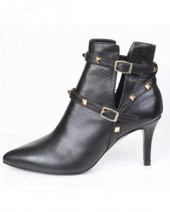 Botín Mujer Black Piel Tachas Angari Shoes.