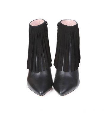 Botines Mujer Negros Piel Flecos Tacón Fino Angari Shoes.