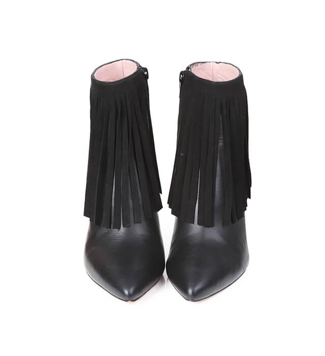 c49eeff06 Botines Mujer Negros Piel Flecos Tacón Fino Angari Shoes.