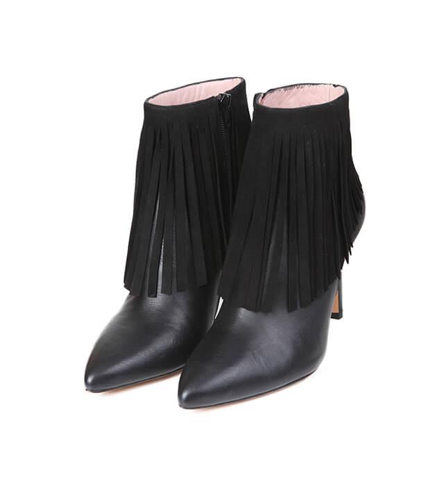 365cc1f02 Botines Mujer Black Piel Flecos Angari Shoes. Botines Mujer Negros Piel  Flecos Tacón Fino ...