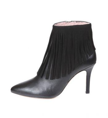 Botín Mujer Negro Detalle Flecos Angari Shoes.