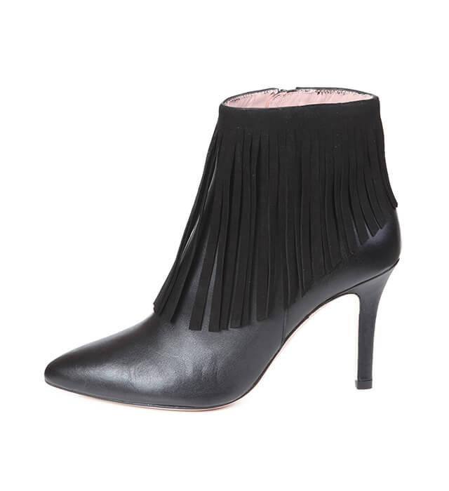 0bfa83710 Botines Mujer Negros Piel Flecos Tacón Fino Angari Shoes. Botín Mujer Negro  Detalle Flecos Angari Shoes.