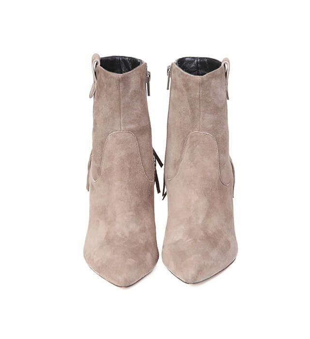 Botines Mujer Ante Beige Detalle Flecos Angari Shoes.