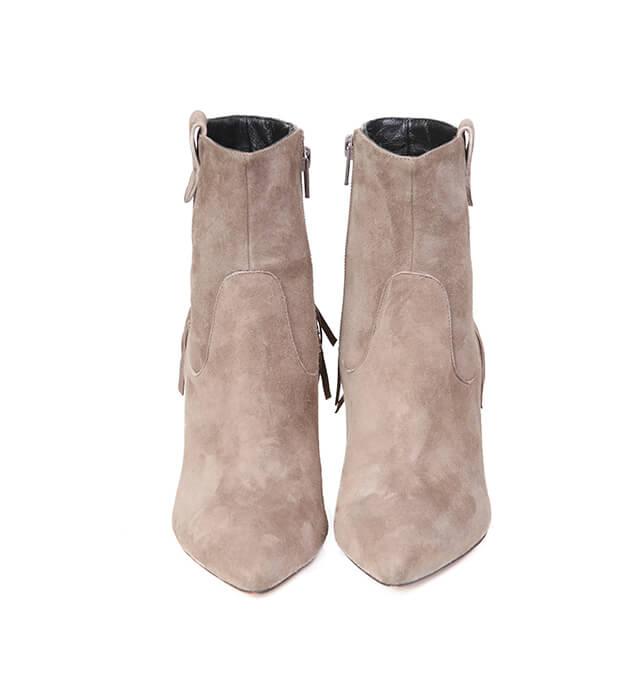Botines Mujer Ante Beige Detalle Flecos Angari Shoes.