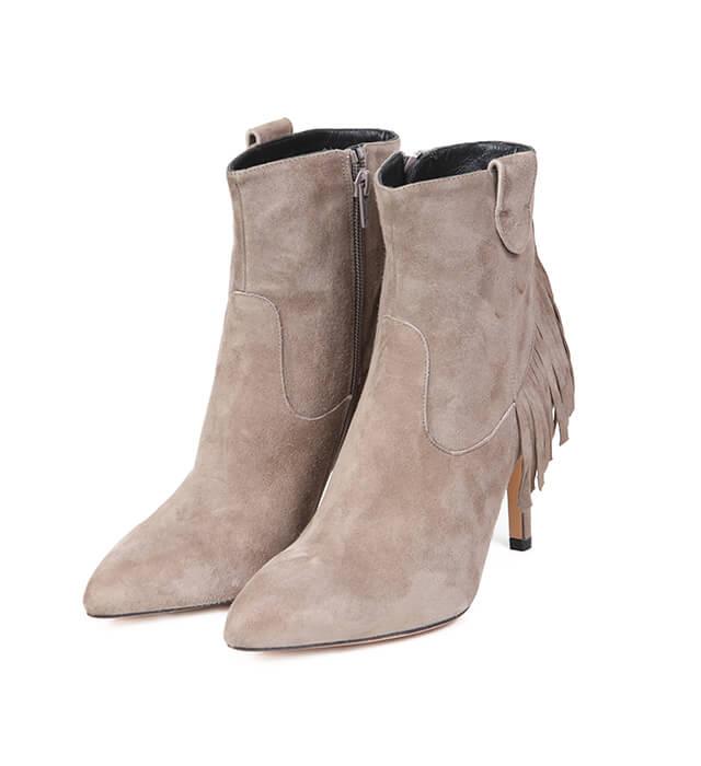 Botines Mujer Tacón Beige Ante Angari Shoes.