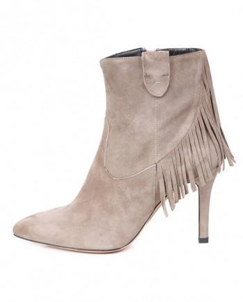 Botín Mujer Ante Beige Tacón Flecos Angari Shoes.