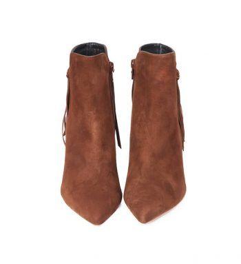 Botines Mujer Flecos Brown Angari Shoes.