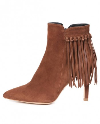 Botín Mujer Ante Brown Flecos Angari Shoes.