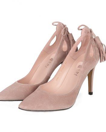 Zapatos Salón Nude Ante Flecos Angari Shoes.