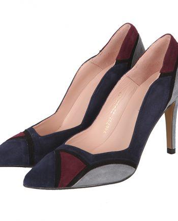 Zapatos Salón Tacón Ante Marino Tricolor Angari Shoes.