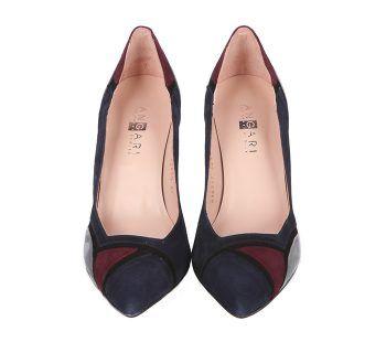 Zapatos Salón Mujer Ante Marino Tricolor Angari Shoes.