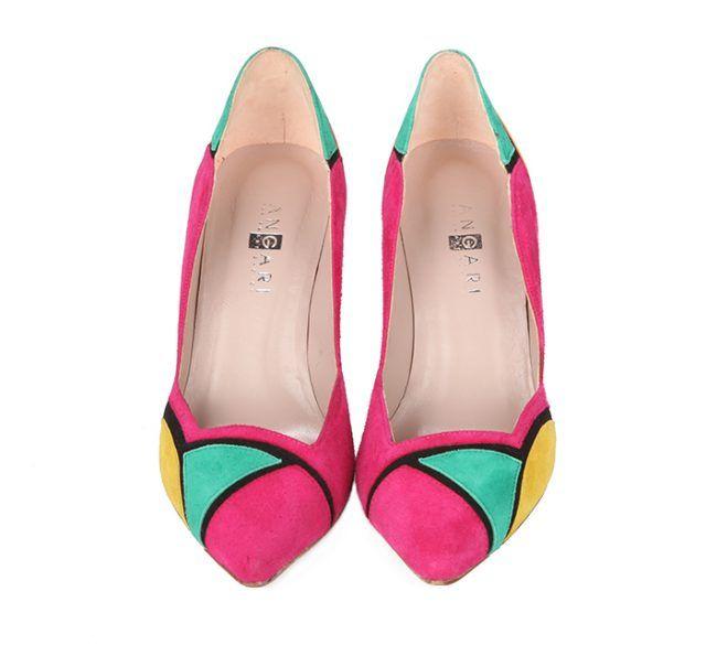 Zapatos Salón Mujer Tacón Ante Multicolor Angari Shoes.