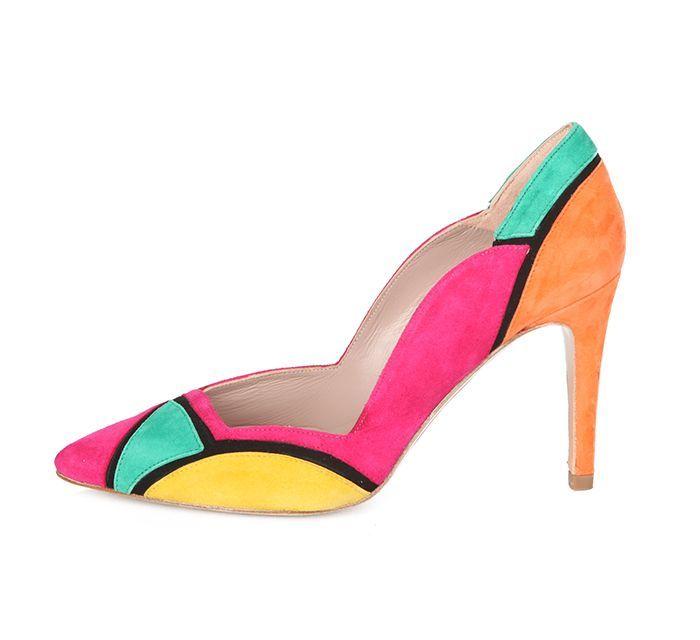 Zapato Fiesta Mujer Ante Multicolor Angari Shoes.