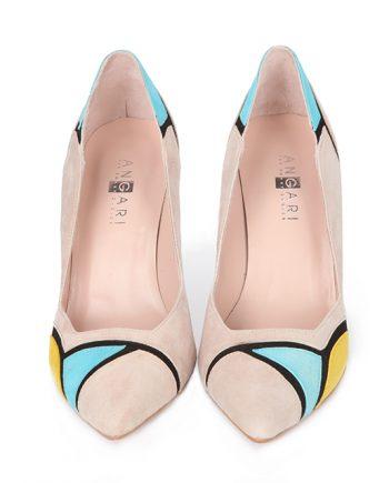 Zapatos Salón Mujer Ante Nude Multicolor Angari Shoes.