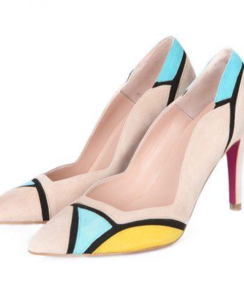 Zapatos Salón Mujer Nude Ante Tricolor Angari Shoes.
