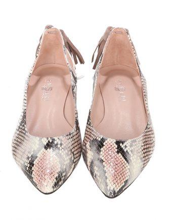 Zapatos Planos Elegantes Piel Serpiente Rose Angari Shoes.