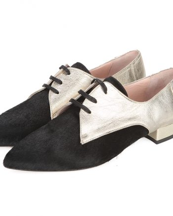 Zapatos Planos Blucher Mujer Negro Dorado Angari Shoes.
