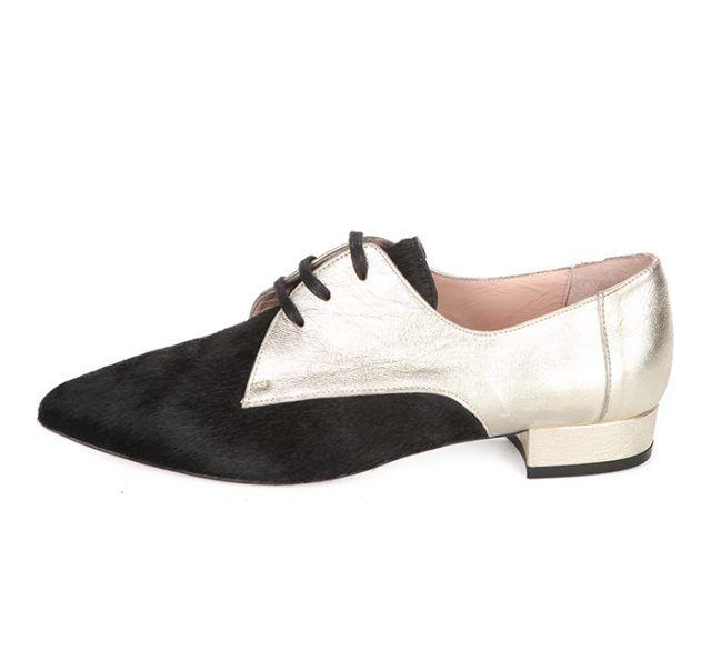 Blucher Mujer Piel Negro Dorado Angari Shoes.