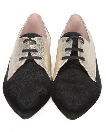 Zapatos Planos Mujer Piel Bicolor Metalizados Angari Shoes.