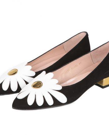Zapatos Planos Mujer Negro Flor Blanca Puntera Angari Shoes.