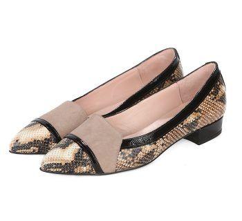 Zapatos Planos Charol Nude Animal Print Angari Shoes.