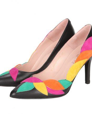 Zapatos Salón Negro Detalle Hojas Multicolor Angari Shoes.