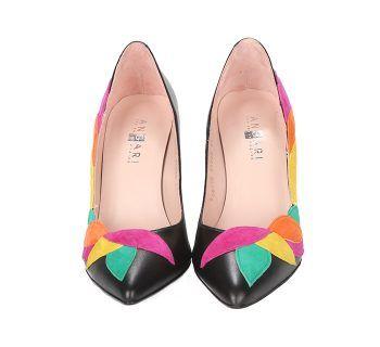 Zapatos Stiletto Piel Negro Hojas Ante Multicolor Angari Shoes.